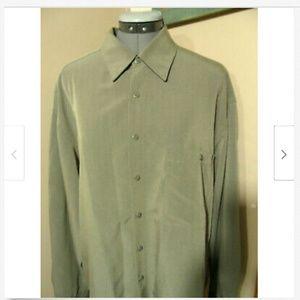 PIERR CARDIN Dress Shirt L 16-16.5 Sage Green LS